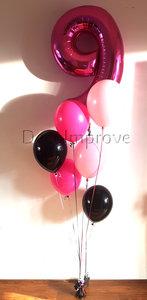 Hotpink 9 Jaar Heliumballonnen Boeket