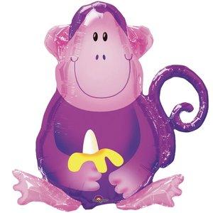 Vrolijke Aap met Banaan SuperVorm Folie Ballon 70cm