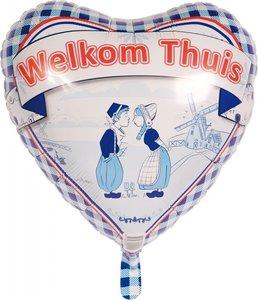 Delftsblauw 'Welkom Thuis' Hart Folie Ballon 45cm