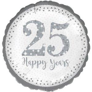 Zilver '25 Happy Years' Jubileum Folie Ballon 45cm
