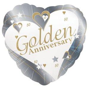 Gouden Jubileum 'Golden Anniversary' Hart Folie Ballon 45cm