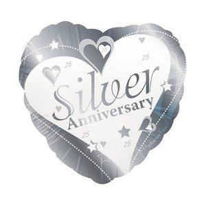 Zilveren Jubileum 'Silver Anniversary' Hart Folie Ballon 45cm