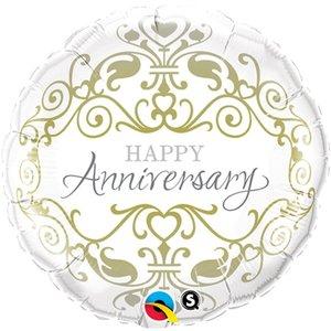 Gouden Versiering 'Happy Anniversary' Folie Ballon 45cm