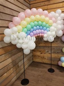 Pastel Regenboog met Wolken Ballondecoratie