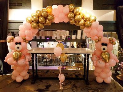 Ballonnenboog Roze en Chroom Goud met Teddyberen