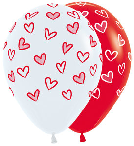 Eeuwige Liefde Hartjes Assorti. Latex Ballonnen 25st 30cm