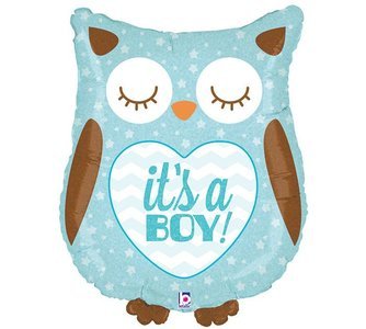 Blauw 'It's A Boy' Uil Folie Ballon 35cm