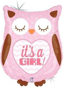 Roze 'It's A Girl' Uil Folie Ballon 35cm