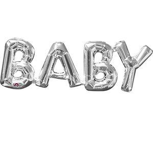 Zilver 'Baby' Letters Folie Ballon 66cm