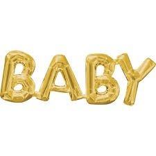 Goud 'Baby' Letters Folie Ballon 66cm