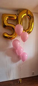 Roze '50 jaar' Helium Ballonnenboeket