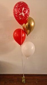 Robijn '40 jaar' Jubileum Helium Ballonnenboeket met 4 ballonnen