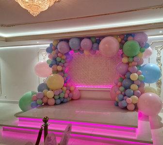 Ballonnenboog Dubbeldeurs Gumballs Pastel Organic Vierkant