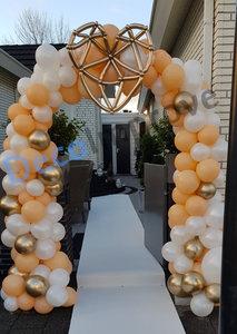 Ballonnenboog Peach, wit, chroom goud Organic Geomatrisch