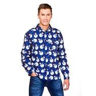 Kerst Overhemd.Blauw Sneeuwpop Kerst Heren Overhemd Decoimprove Nl
