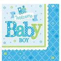 Welkom-Baby-Jongen-Tafel-Servetten-16st