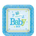Welkom-Baby-Jongen-Vierkante-Papieren-Dessert-Borden-8st