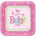 Welkom-Baby-Meisje-Vierkante-Papieren-Borden-8st