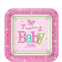 Welkom-Baby-Meisje-Vierkante-Papieren-Dessert-Borden-8st