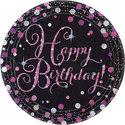 Sprankelende-Roze-Verjaardag-Happy-BIrthday-Papieren-Borden-8st