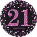 Sprankelend-Roze-21e-Verjaardag-Papieren-Borden-8st