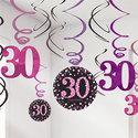 Sprankelend-Roze-30e-Verjaardag-Hangkrullen-12st