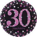 Sprankelend-Roze-30e-Verjaardag-Papieren-Borden-8st
